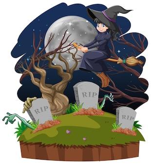 Heks berijdt bezemsteel over het graf dat op witte achtergrond wordt geïsoleerd
