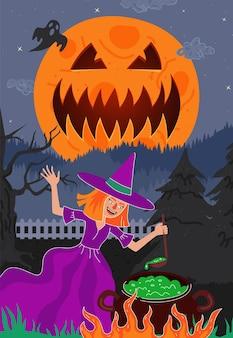 Heks brouwt magisch giftig in ketel in nachtbos, happy halloween-vakantiewenskaart