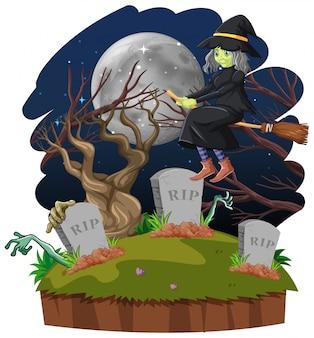 Heks die bezemsteel berijden op de hemel en het graf dat op witte achtergrond wordt geïsoleerd