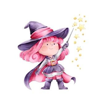 Heks die een spreuk happy halloween uitspreekt