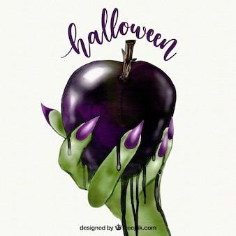 Heks die een vergiftigde appel houdt