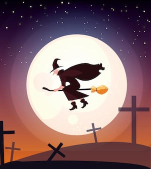 Heks die met bezem in begraafplaatsscène vliegt