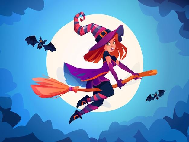 Heks die op bezemsteel vliegt tegen volle maanlichttovenaar die kostuumdame draagt met vleermuizen halloween