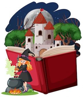 Heks en kasteeltoren met pop-up boek cartoon stijl op witte achtergrond