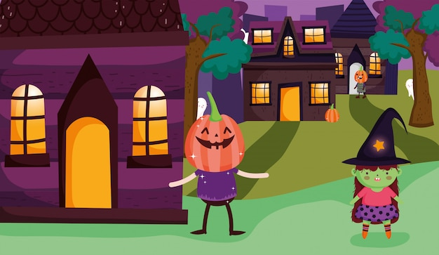 Heks en pompoen kostuum trick or treat