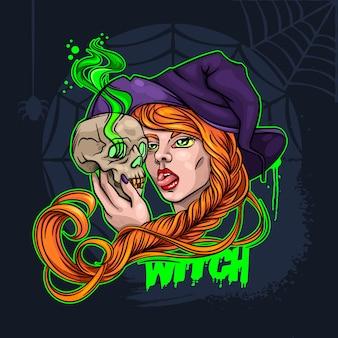 Heks en schedel halloween vectorillustratie