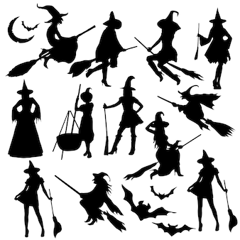 Heks halloween kostuum silhouet illustraties