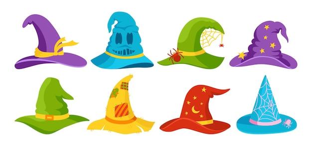 Heks hoed halloween platte cartoon set feest magie hoeden horror tovenaar hoofdtooi vieren element
