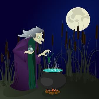 Heks in het moeras brouwt drankjes. halloween. illustratie