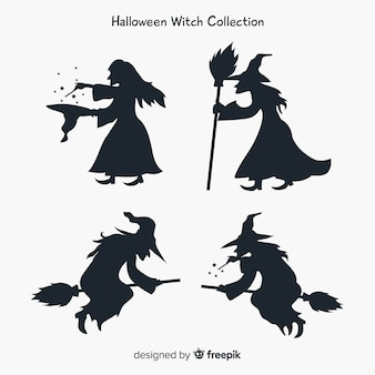 Heks karakterverzameling met silhouetstijl