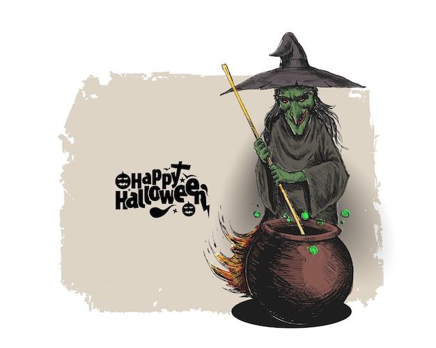 Heks kookdrankje in pot en tekst happy halloween, hand getrokken schets vectorillustratie.