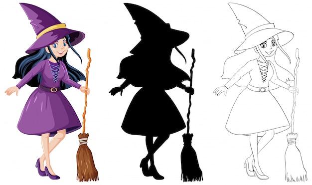Heks met bezemsteel in kleur en omtrek en silhouet stripfiguur geïsoleerd