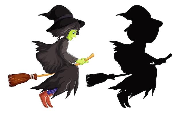 Heks met bezemsteel in kleur en silhouet stripfiguur geïsoleerd op een witte achtergrond