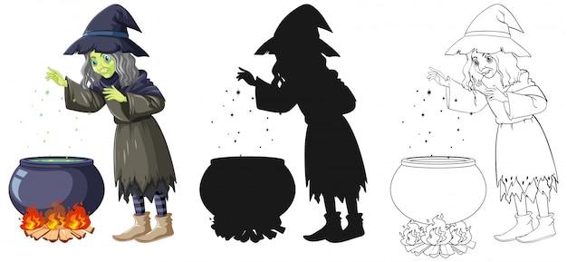Heks met magische pot in kleur en overzicht en silhouet stripfiguur geïsoleerd op een witte achtergrond
