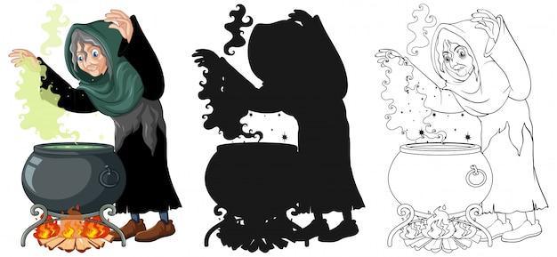 Heks met zwarte magische pot in kleur en overzicht en silhouet stripfiguur geïsoleerd op een witte achtergrond