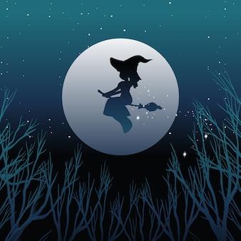 Heks of tovenaar berijdende bezemsteel in silhouetteon de hemel die op hemel wordt geïsoleerd
