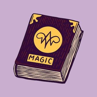 Heks spreukenboek. mystieke alchemie recepten. astrologie symbool. magische boho illustratie. hand getrokken gegraveerde schets voor tatoeage of t-shirt.