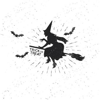 Heks vintage halloween sjabloon met vleermuizen. vectorillustratie