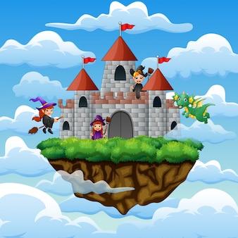 Heksen en draak vlogen rond het kasteel op de wolken