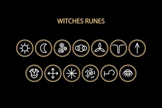 Heksen runen pictogrammen. kan worden gebruikt voor een site met waarzeggerij, voorspellingen, magie.