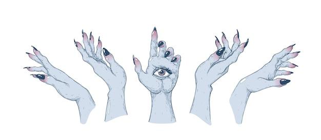 Heksenhanden in verschillende posities handgemaakte vectorkunstillustratie gemaakt met pen en inkt