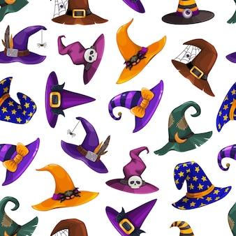 Heksenhoeden vector naadloos halloween-patroon. cartoon wizard hoofddeksels, traditionele goochelaar caps versierd met spinnenweb, verdere, strepen of sterren voor tovenares of astroloog. feestkostuum hoeden
