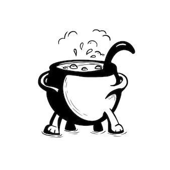 Heksenketel met drankje. hand getekende inkt illustratie van ketel. halloween-element of sticker.