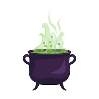 Heksenketel van kokende groene vloeistof. halloween feestdecoratie