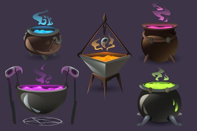 Heksenketels met kokende toverdrankjes oude kookketels met gekleurd brouwsel en stoom