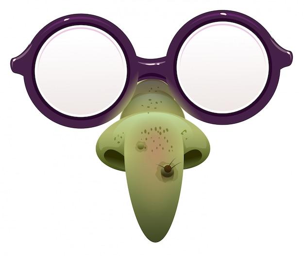 Heksenmasker voor maskerade. bril en groene neus met wrat