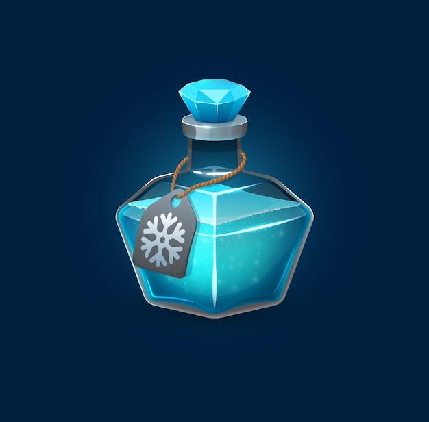 Hekserij glazen potion fles met bevriezing spreuk, cartoon vector spel troef. blauwe toverdrank van heks of gifdrank in pot om ijs te bevriezen, tovenaarsalchemie elixer glazen fles met kristallen stopkurk