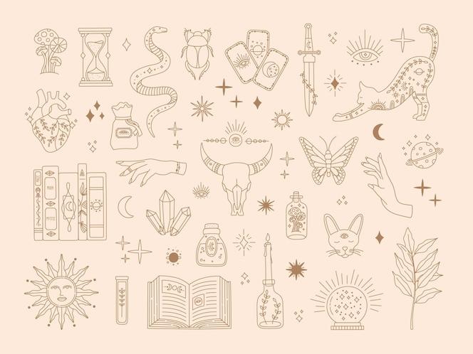 Hekserij heilige grote set, mystieke magische symbolen voor flash tattoo, handgetekende mysterie gouden lijn kunstcollectie, moderne boho stijlelementen zon, sterren, oog, drankje. vectorpictogrammen en logo-afbeelding
