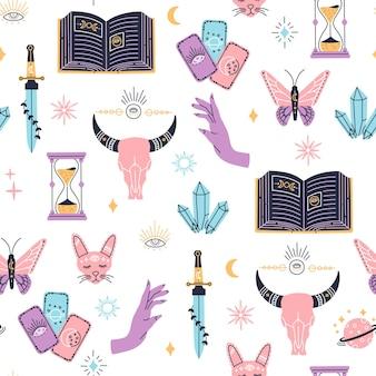 Hekserij naadloos patroon, mystieke magische symbolen, met de hand getekend