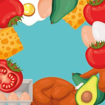 Helathy voedsel frame achtergrond