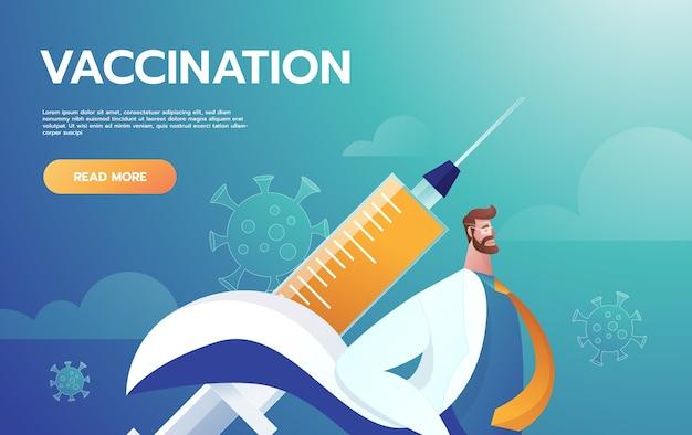 Helden doktersleider die de symptomen van het coronavirus bestrijdt.