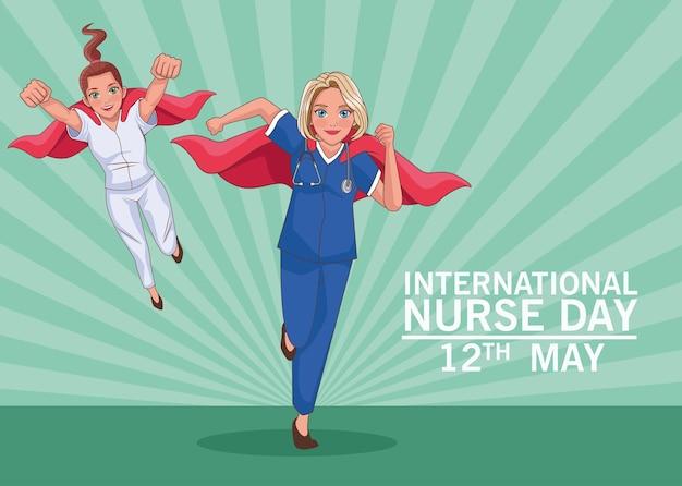 Helden verpleegsters dag viering karakters achtergrond