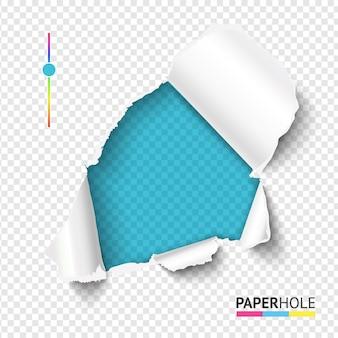 Helder azuurblauw gescheurd papiergat met gescheurde rand