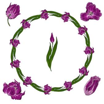 Helder bloemstuk met de kleuren van de tulp.