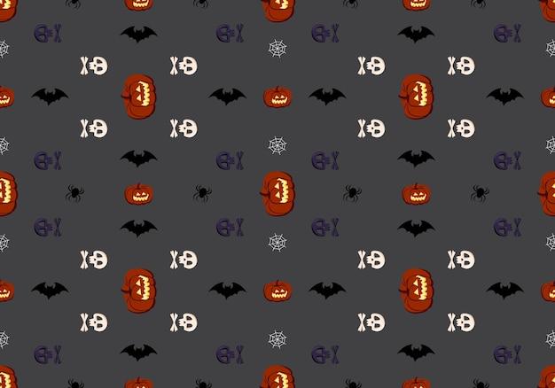 Helder donker naadloos patroon met pompoenen, schedels, vleermuizen en spinnen, feestelijke herfstdecoratie voor hal...