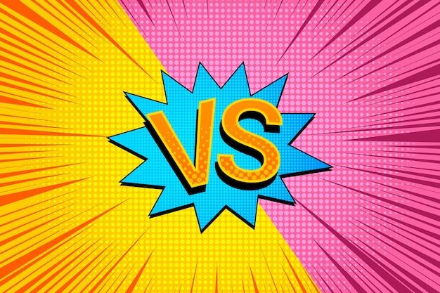 Helder duel en vechtachtergrond met vs-bewoording blauwe halftoon van de toespraakbel en straleneffecten