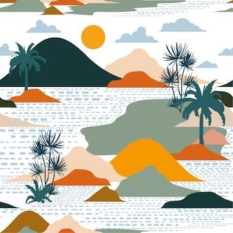 Helder en kleurrijk silhouet van eiland naadloos patroon