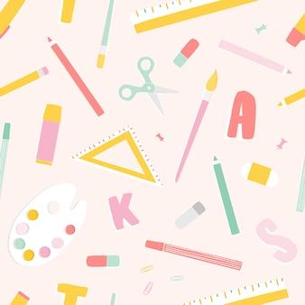 Helder gekleurd naadloos patroon met schoolbenodigdheden