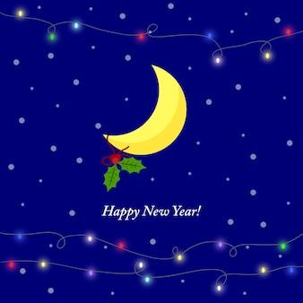 Helder gekleurde illustratie voor wintervakantie wenskaart met cartoon gele maanlichten en br