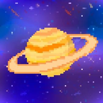 Helder glanzend saturnus schattige planeet in pixel art stijl op ruimte achtergrond