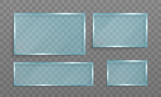 Helder glazen banner. acryl en glastextuur met blikken en licht.