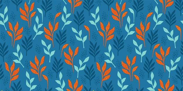 Helder grappig naadloos patroon met abstracte bladeren