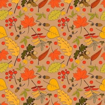 Helder herfst naadloos patroon met bladeren en fruit
