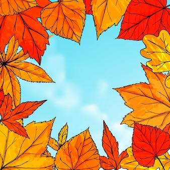 Helder herfstframe met oranje en rode bladeren. hallo herfstbanner. herfstachtergrond voor advertenties, wenskaarten en sociale media-inhoud