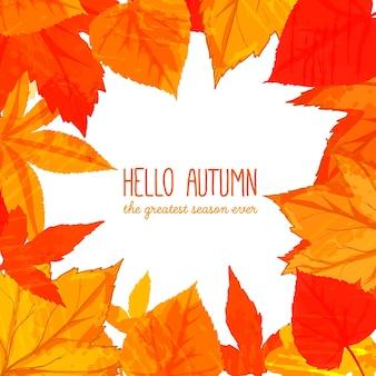 Helder herfstframe met oranje en rode bladeren. hallo herfstbanner. herfstachtergrond voor advertenties, wenskaarten en sociale media-inhoud.