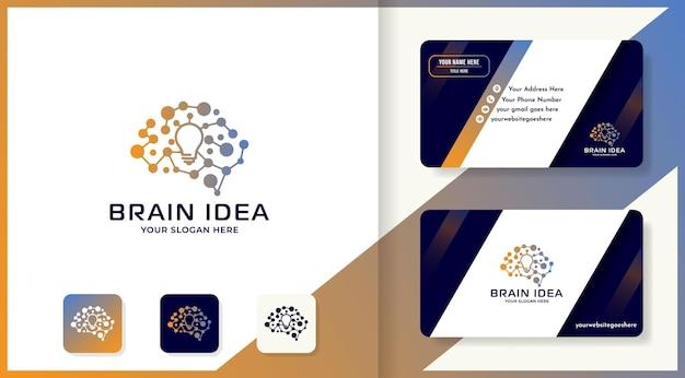 Helder hersenlogo-ontwerp met puntmolecuul en visitekaartjeontwerp